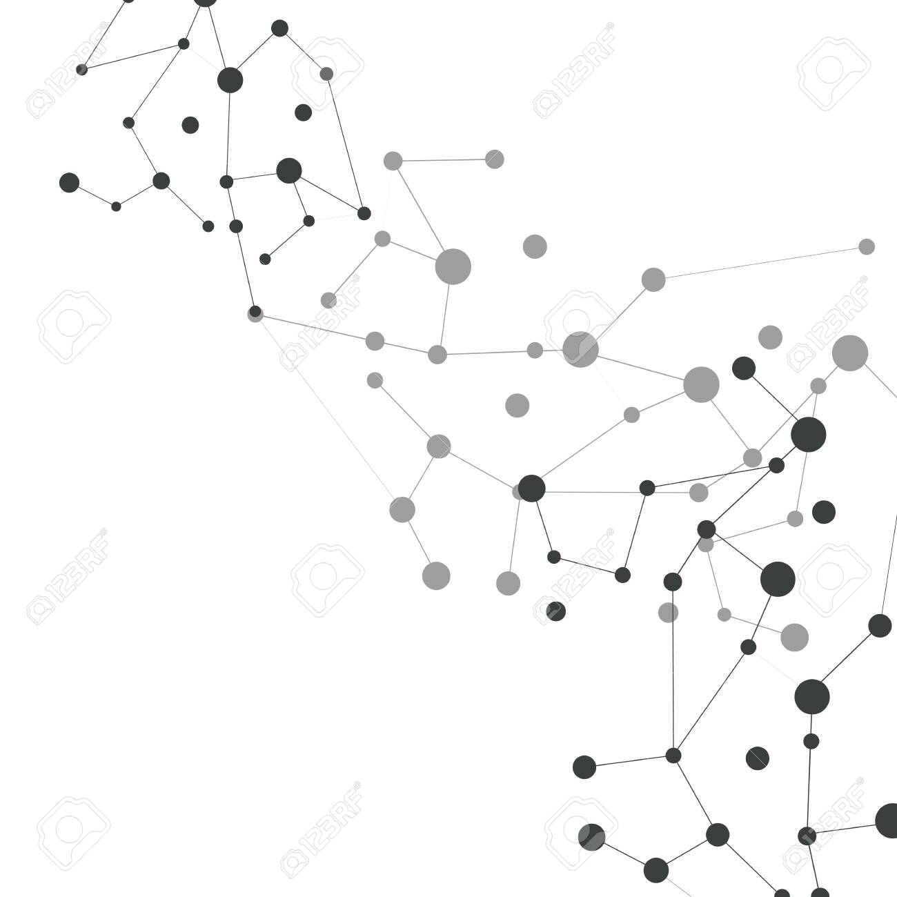abstract gray molecular compounds with dots and lines to the right - 150887060