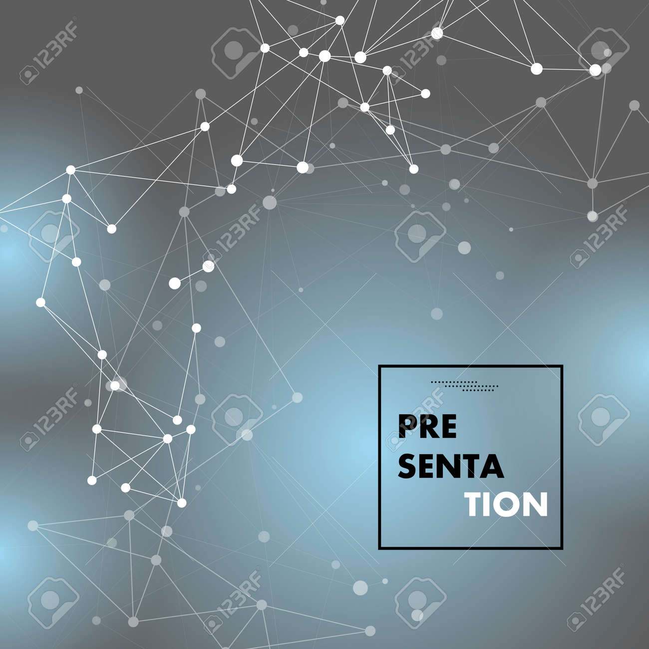 White lines dots connect. Abstract futuristic network. Vector illustration - 159524575