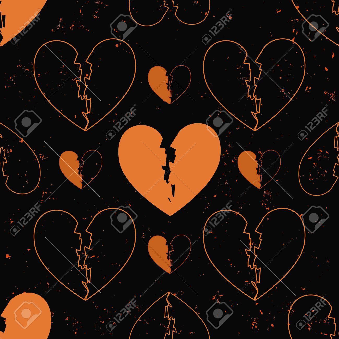 Sin Patrón De Corazones Rotos Pintados En La Pared De Fondo Del Grunge De Cemento Con Las Chispas De La Llama Un Concepto Del Amor Del Corazón Formas