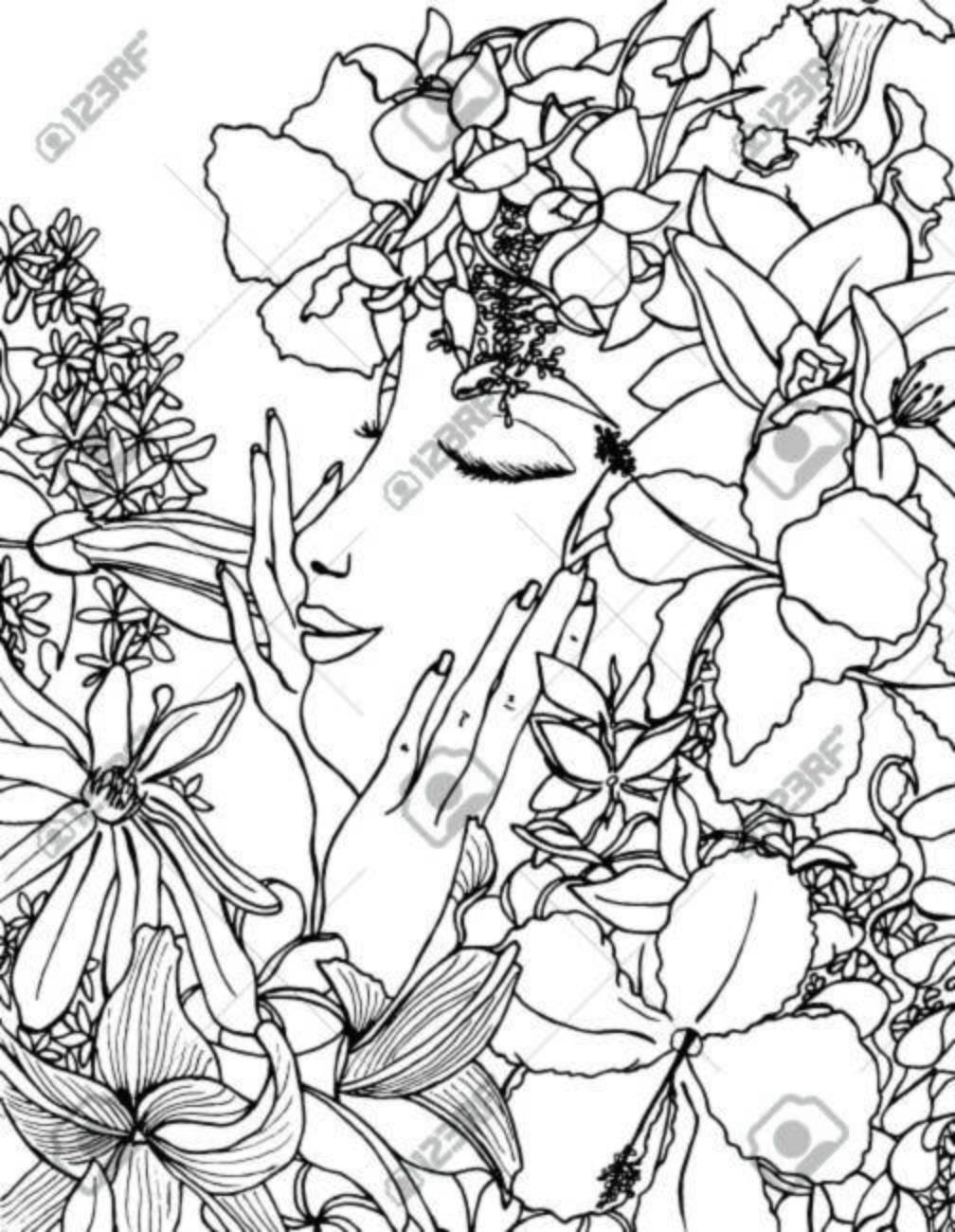 Vector Illustration zentangle Mädchen mit Blumen in ihrem Haar jung und  hübsch. Gekritzelzeichnung, Frühlingsgefühl. Meditative Übung. Malbuch Anti