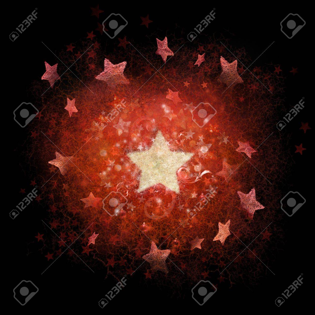 Layered red and white stars background with subtle line structures, photographed stars and ornaments around the big, white star Stock Photo - 13977713