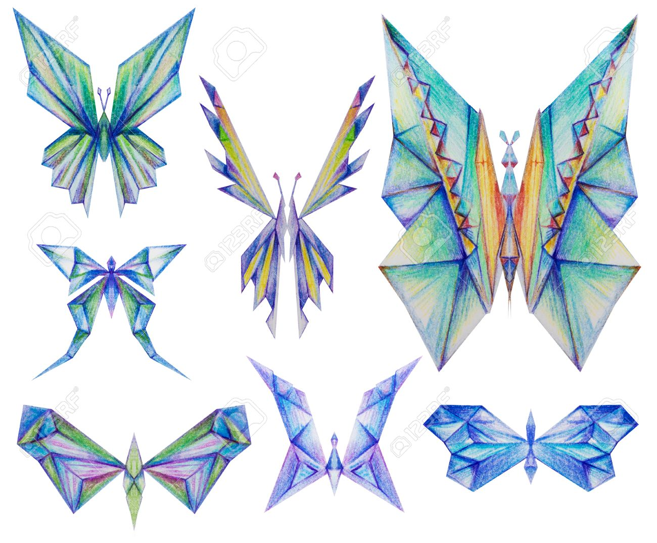 Triangular Diamond Like Butterfly Collection Color Pencil Drawing Isolated On White Stock