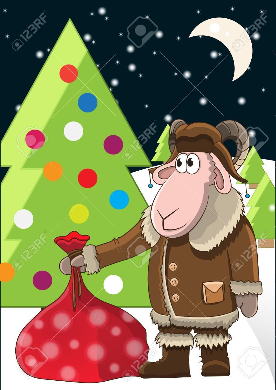 Weihnachten Illustration Cartoon Schafe Mit Einem Sack Voll ...