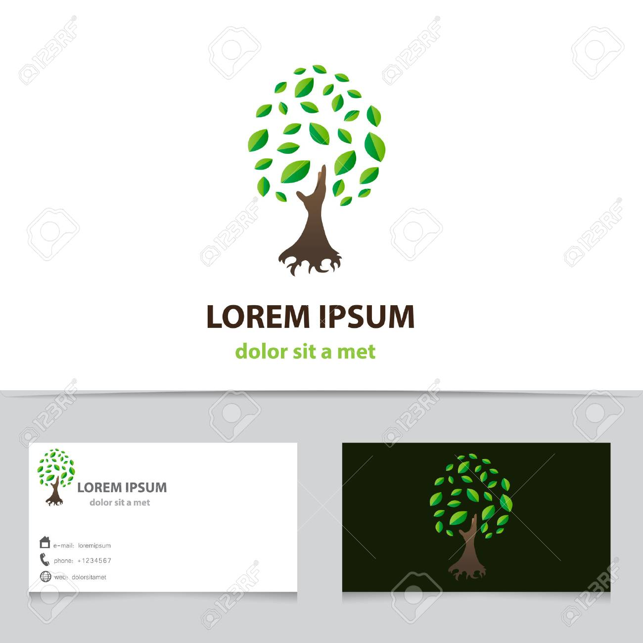 Vector icon tree with business card template creative idea for vector vector icon tree with business card template creative idea for your company cheaphphosting Image collections