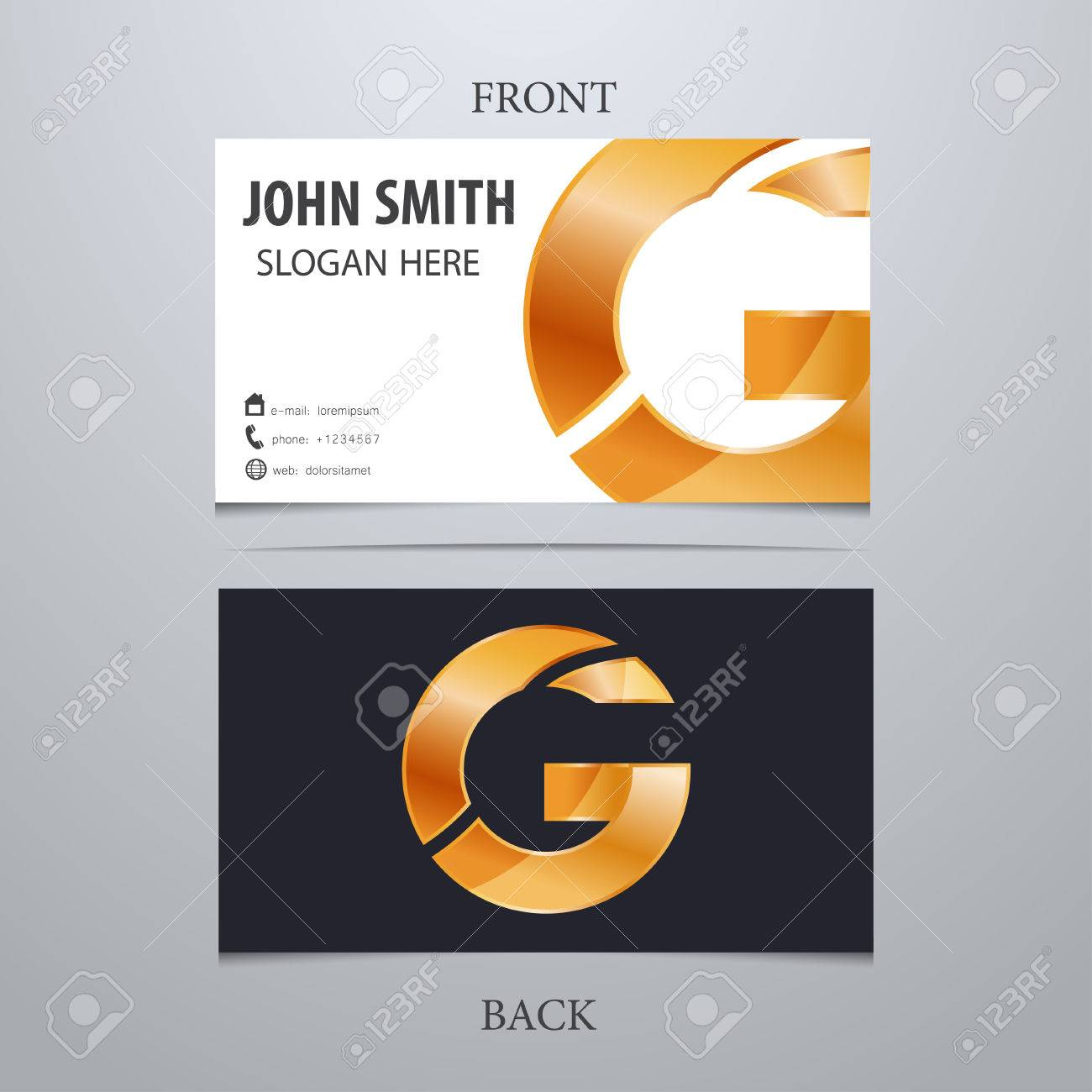 Vector gold metallic business card template letter g trendy banco de imagens vector gold metallic business card template letter g trendy business elements reheart Gallery