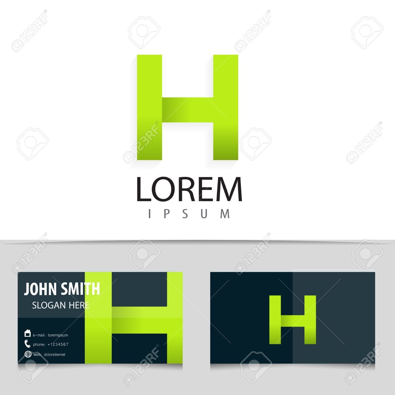 vector logo design letter h business card template royalty free