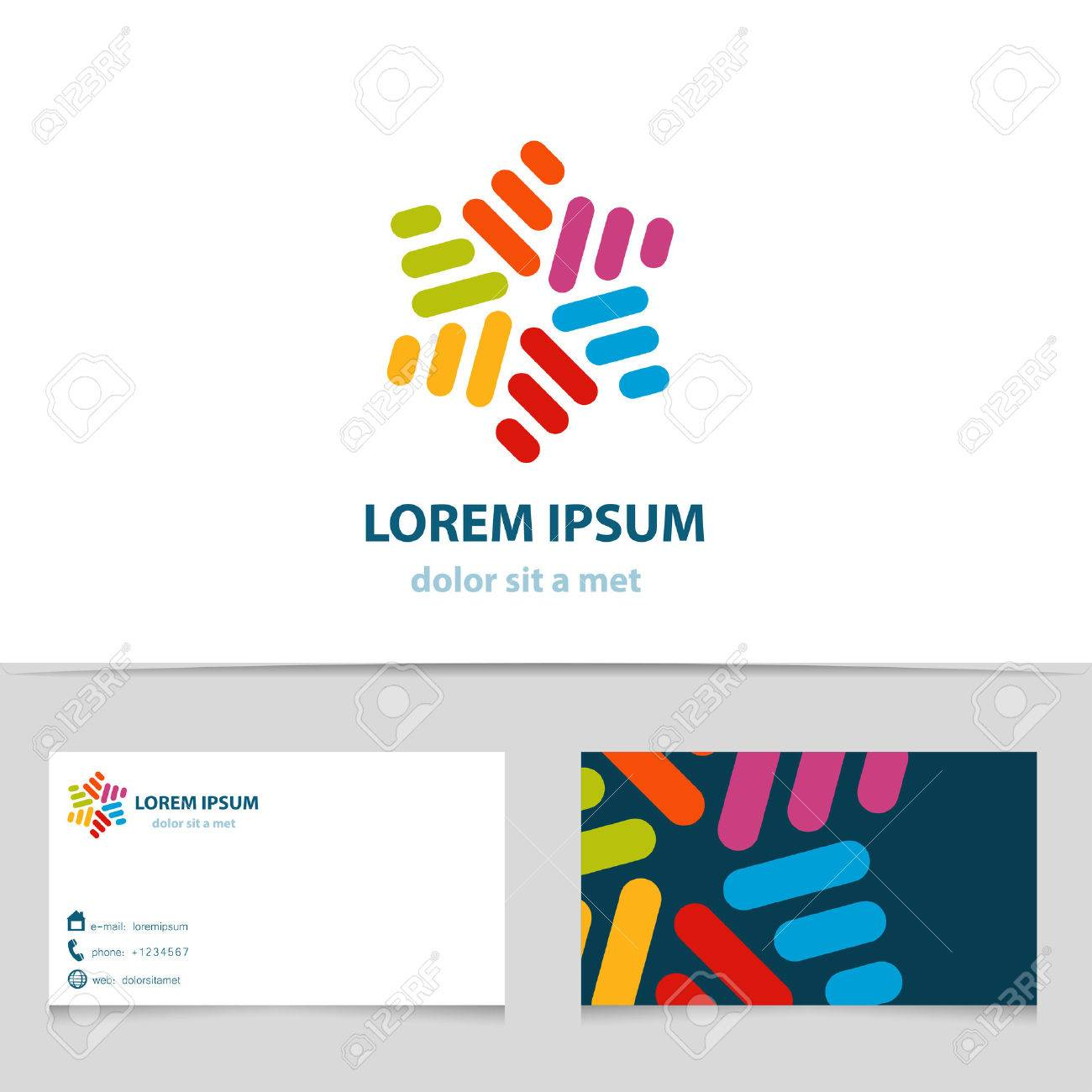 Abstract colorful infinity logo design star logotype with business abstract colorful infinity logo design star logotype with business card template vector creative icon reheart Image collections