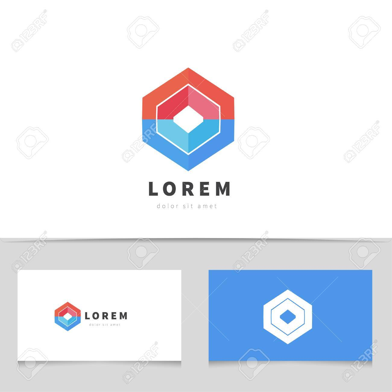 Abstract Hexagon Logo Icon With Business Card Template. Creative Logotype  For Your Company. Vector  Bus Pass Template