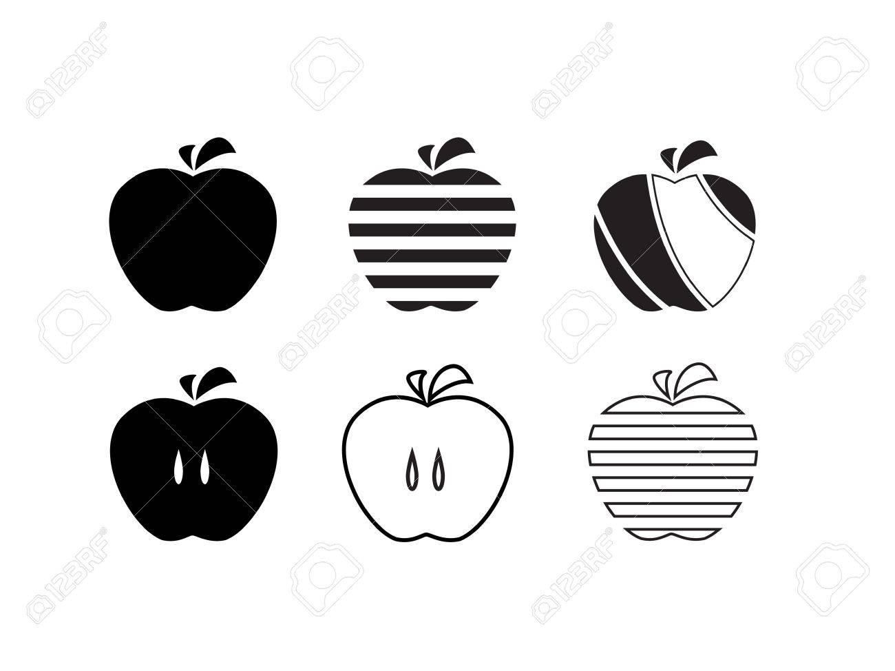 Apple icons set  Stylized fruit design elements  Black silhouette