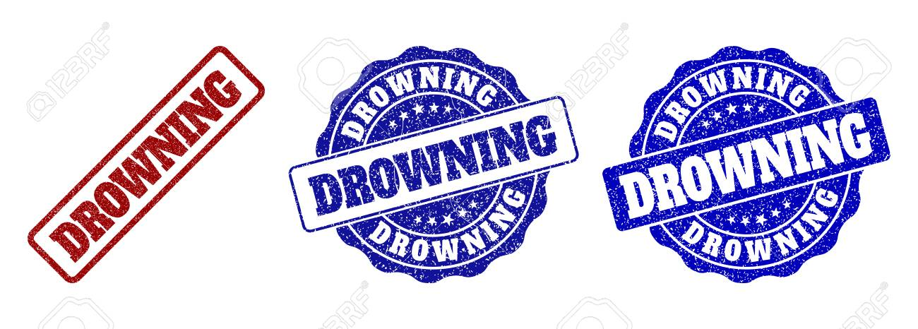 DROWNING scratched stamp seals in red and blue colors  Vector
