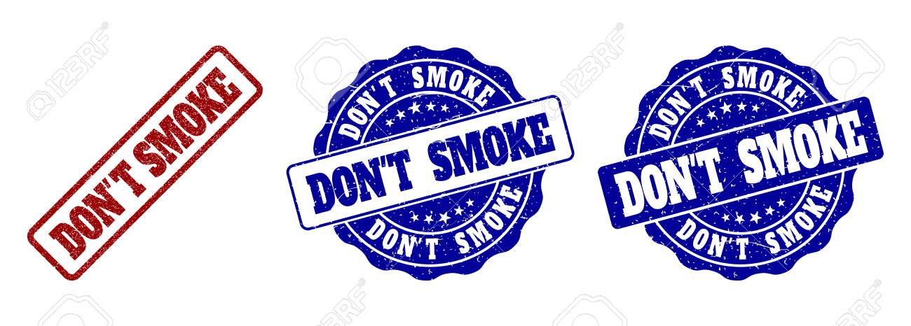 DON'T SMOKE grunge stamp seals in red and blue colors. Vector DON'T SMOKE signs with grunge surface. Graphic elements are rounded rectangles, rosettes, circles and text titles. - 127101049