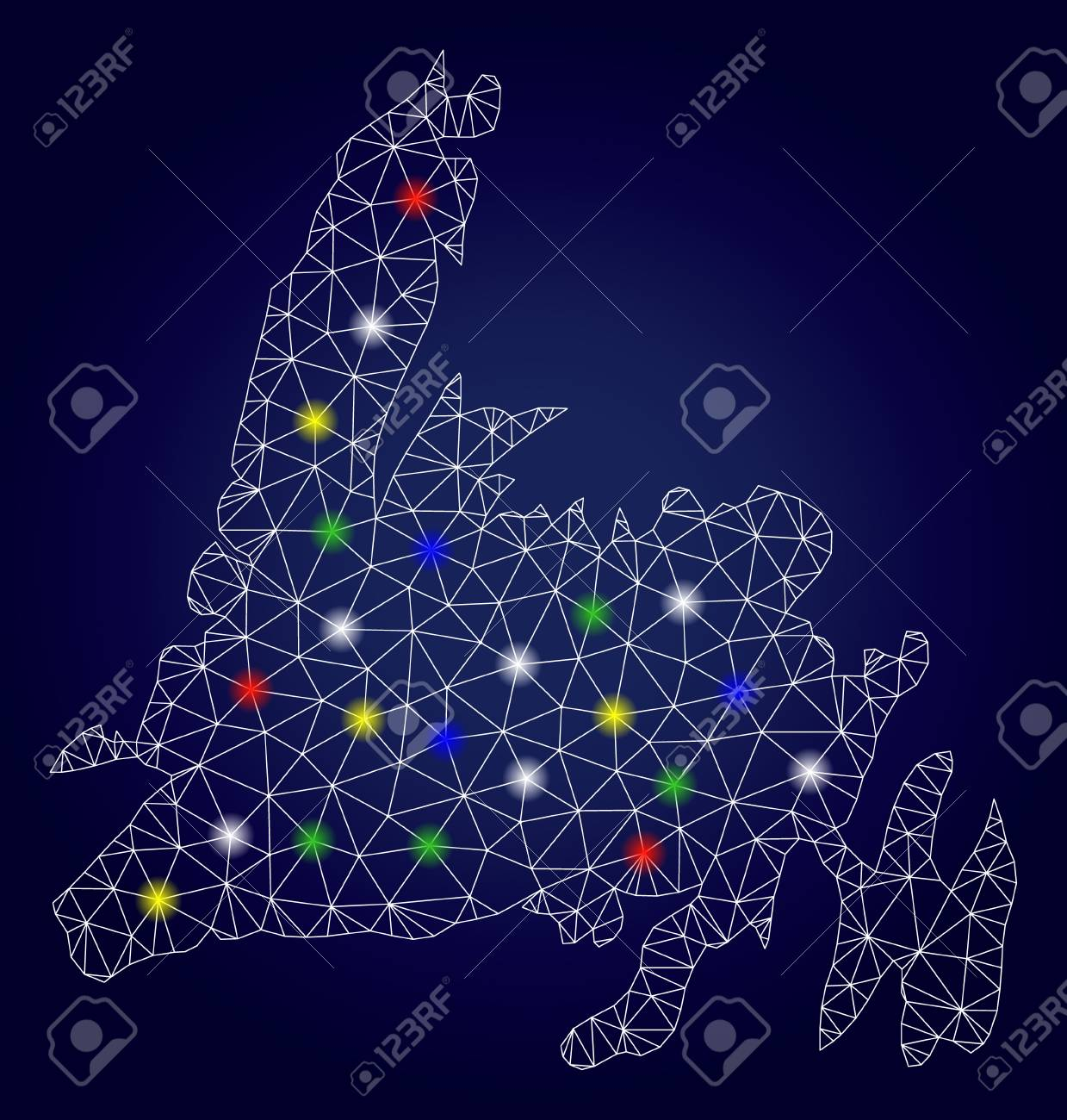 Patriotic Christmas Lights.Bright Mesh Vector Newfoundland Island Map With Glowing Light