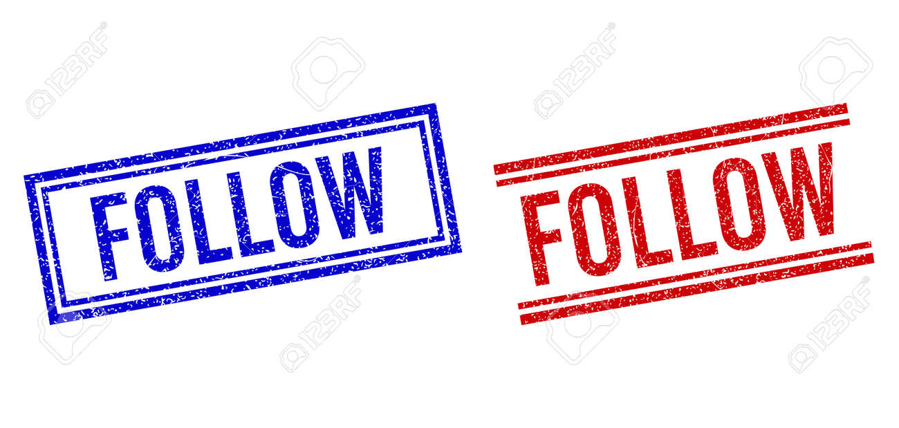 FOLLOW seal watermarks with grunge texture. Vectors designed with double lines, in blue and red versions. Tag placed inside double rectangle frame and parallel lines. - 169422281