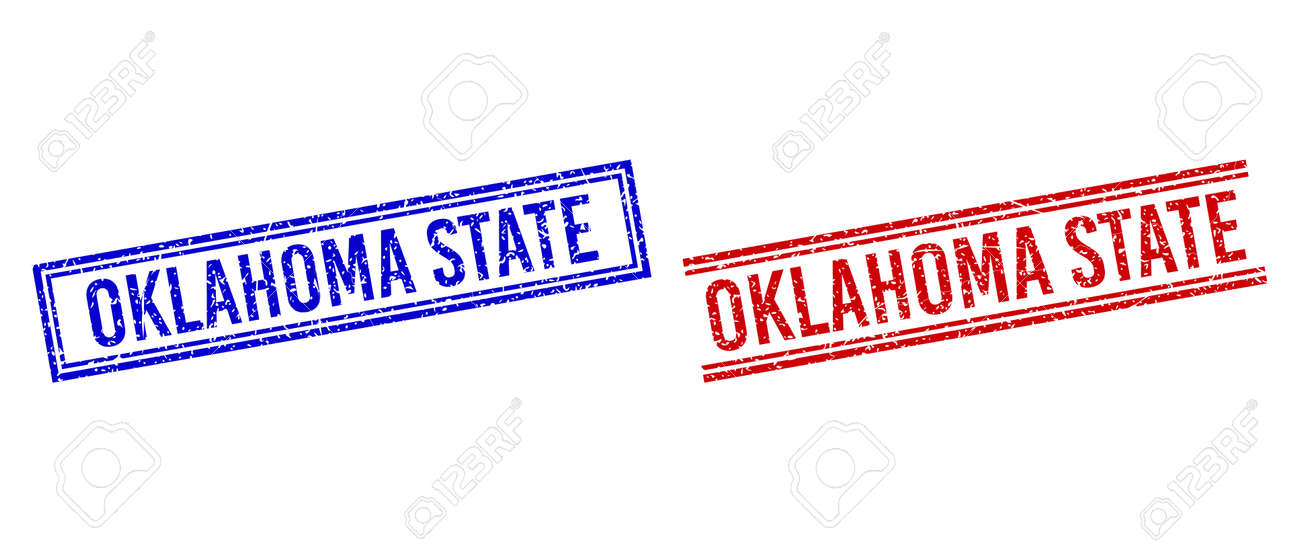 OKLAHOMA STATE seal watermarks with grunge texture. Vectors designed with double lines, in blue and red colors. Caption placed inside double rectangle frame and parallel lines. - 170683136