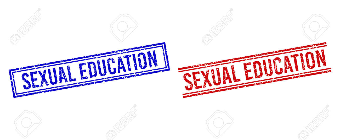 SEXUAL EDUCATION stamp seal imitations with grunge effect. Vectors designed with double lines, in blue and red versions. Text placed inside double rectangle frame and parallel lines. - 170683227