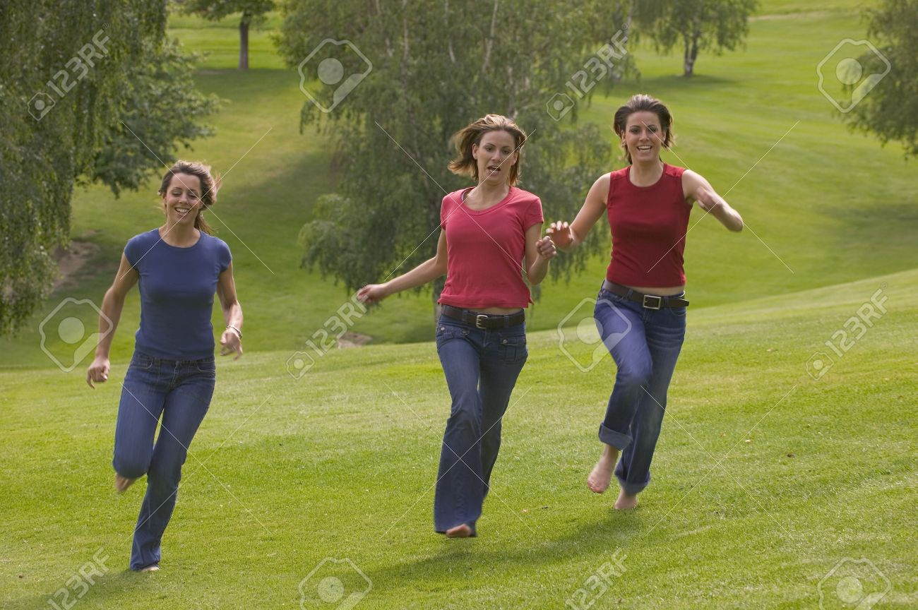 Three Teen Girls Running In Park Stock Photo, Picture And Royalty Free  Image. Image 6214220.