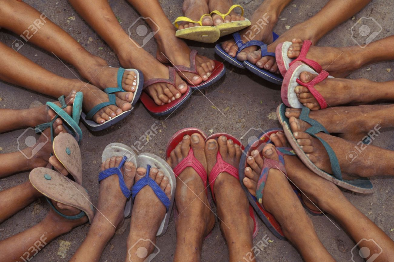 28d92072ee7746 Group of feet in sandals Stock Photo - 6214691
