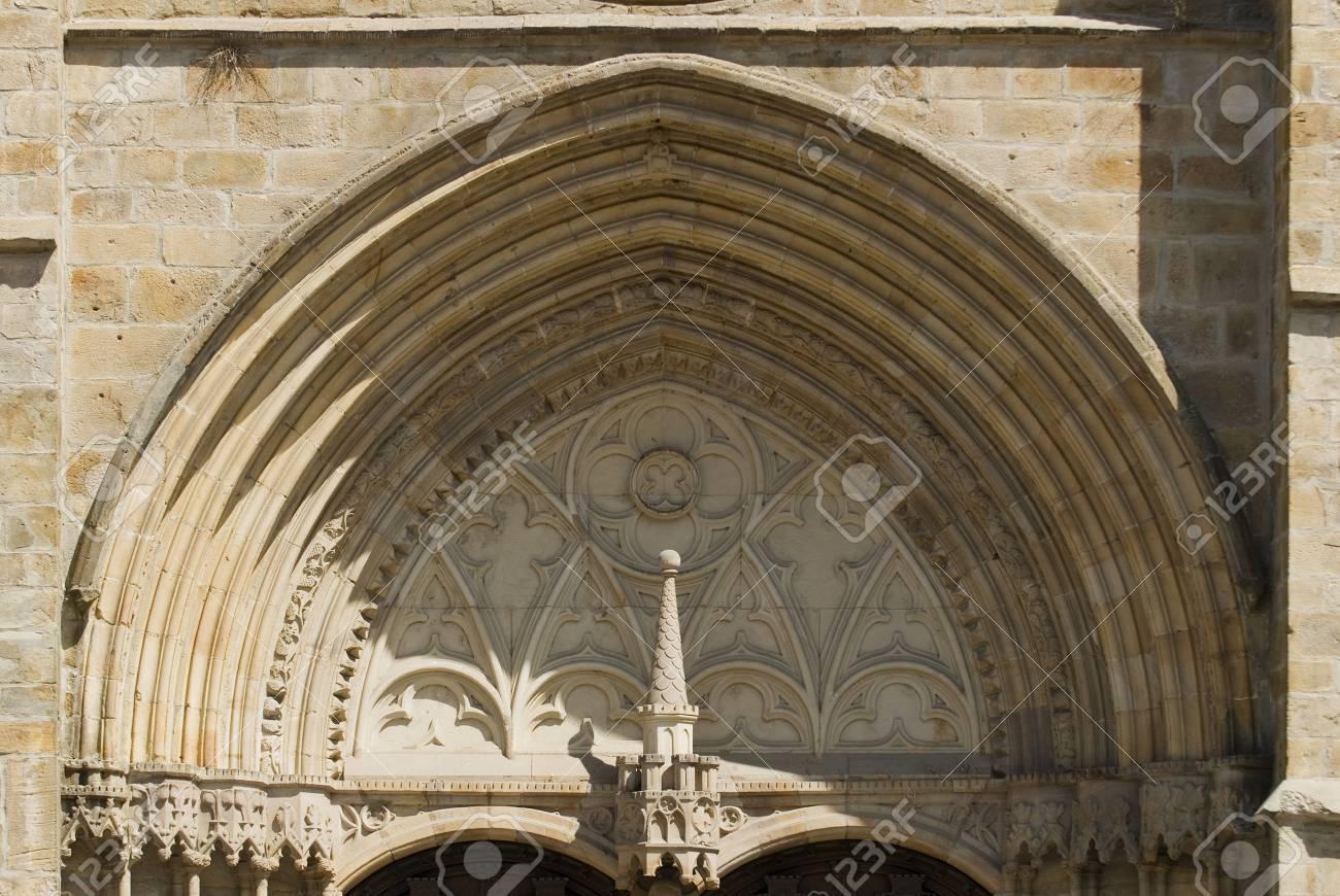 Balmaseda, Vizcaya, The Basque Country, Spain; Facade above main entrance door of the Church of San Severino Stock Photo - 7286072