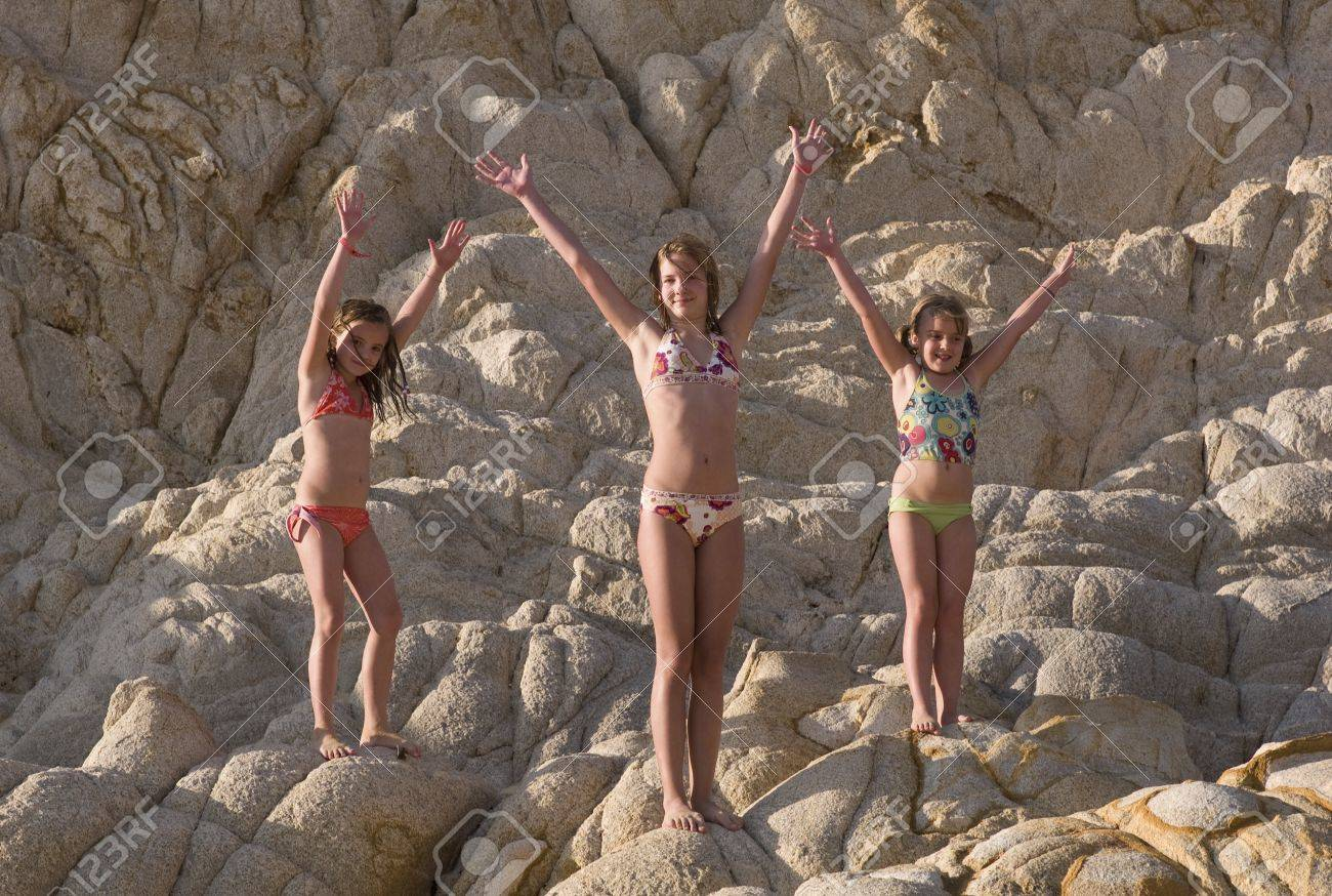 preeteens bikini Stock Photo - Children in bathing suits, Los Cabos, Mexico