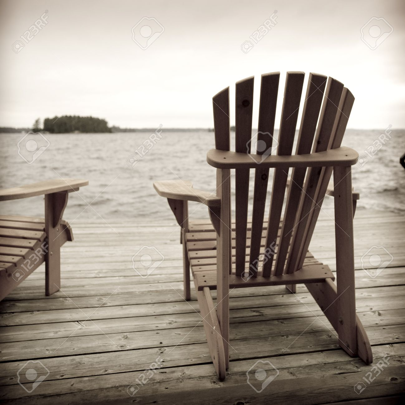 Adirondack Chairs On Deck, Muskoka, Ontario, Canada Stock Photo   7192232