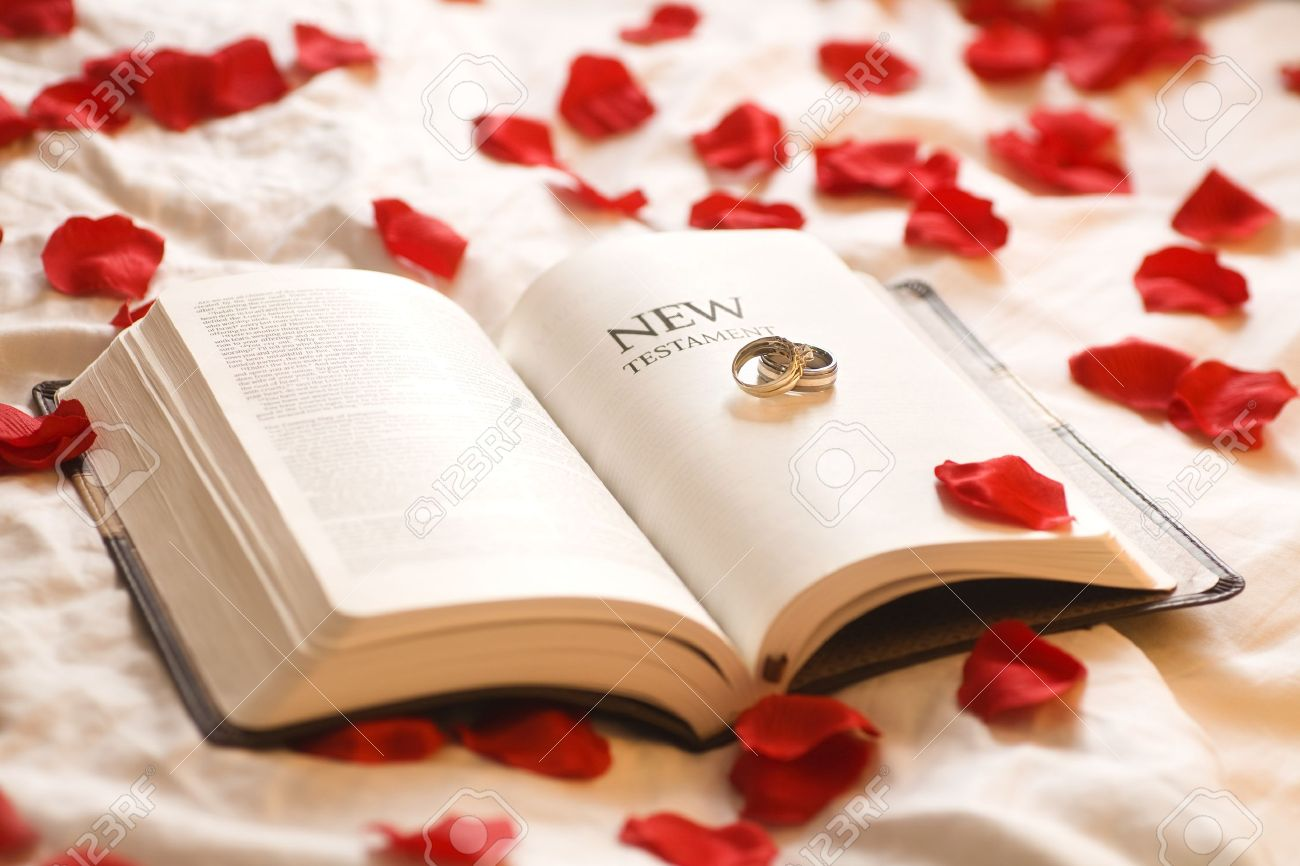 Rings On The Bible Wedding New Testament Surrounded By Rose Petals