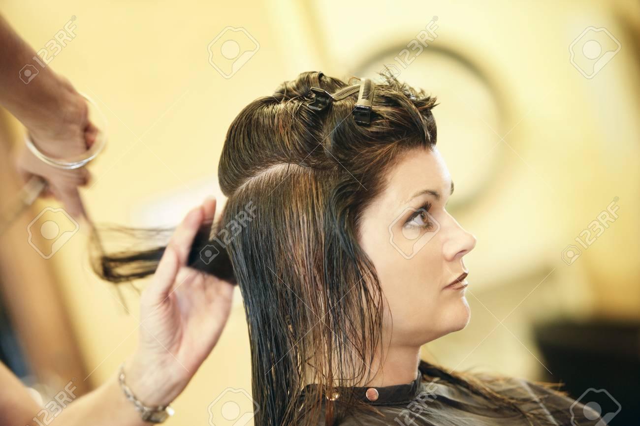 Woman having her hair cut Stock Photo - 7190931