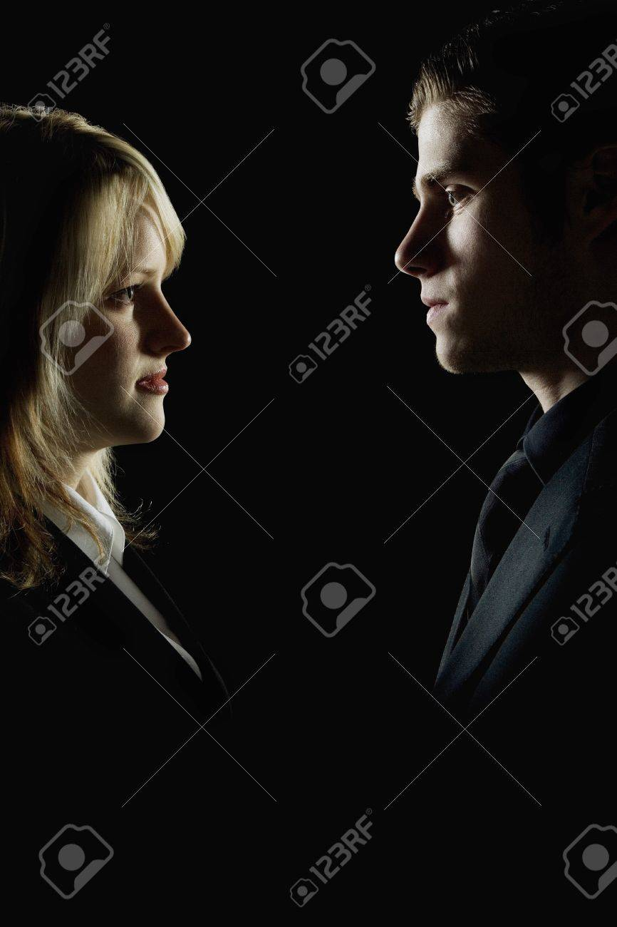 Side profile of a couple looking at each other Stock Photo - 7196837