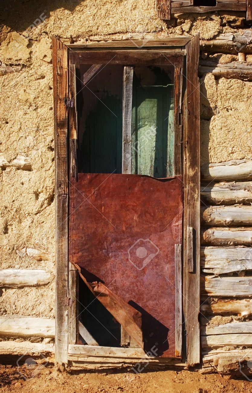 Broken Door At An Empty House Stock Photo   7210259
