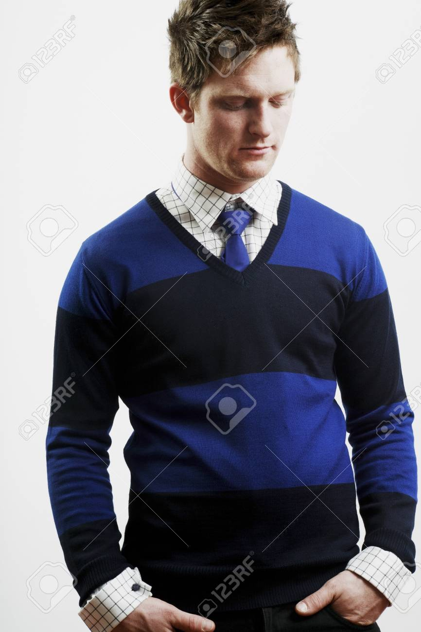 Front view of a man looking down Stock Photo - 7201163