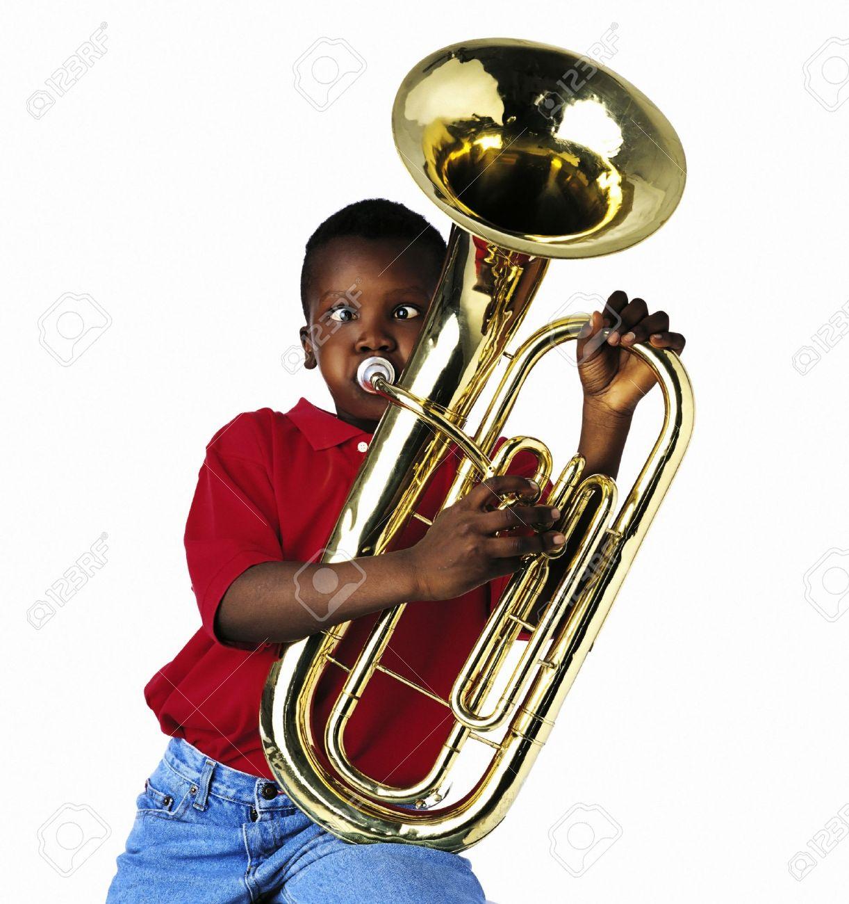 Child playing baritone Stock Photo - 7201272