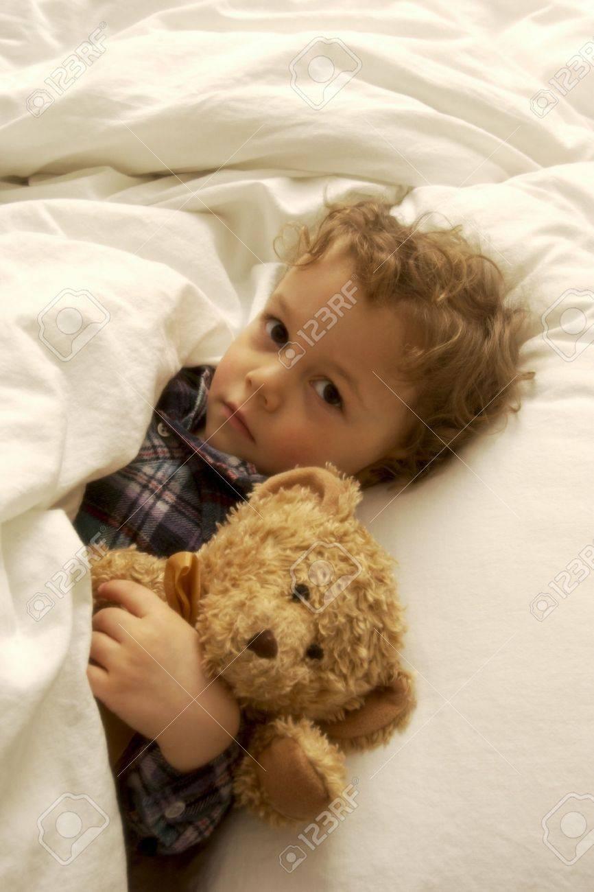 Boy With Teddy Bear Boy Laying in Bed With Teddy