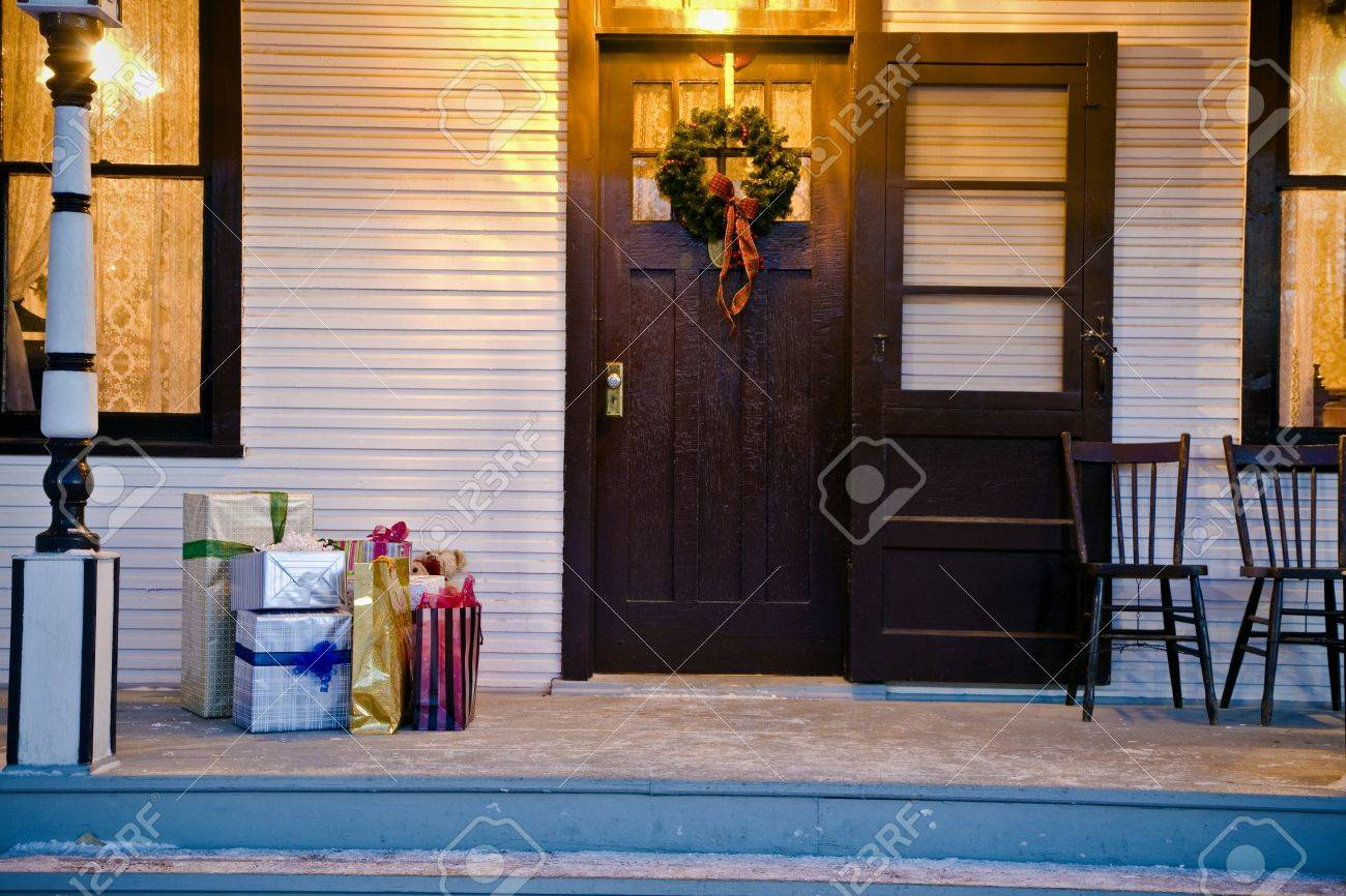 Christmas gifts outside the front door Stock Photo - 7207507