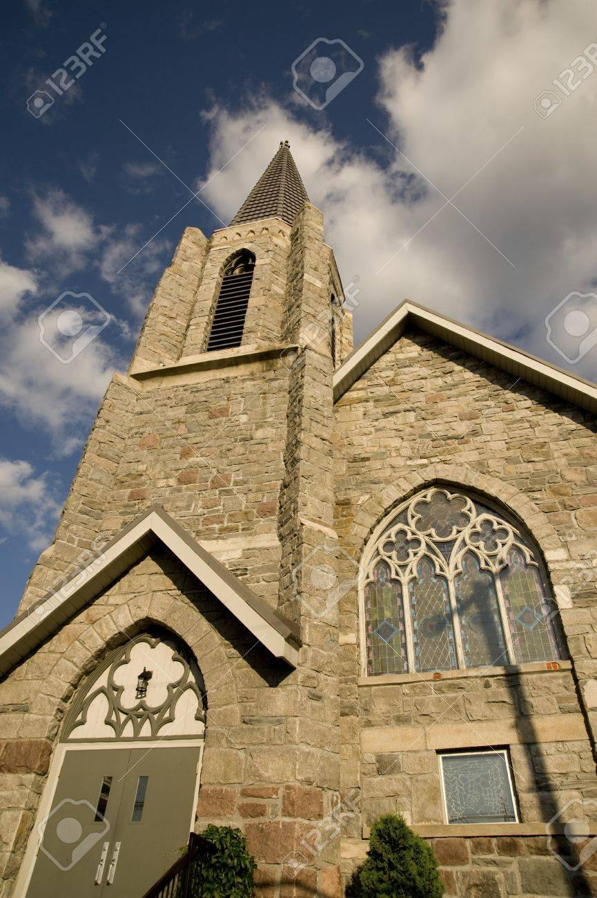 Lake of the Woods, Kenora, Ontario, Canada; Church spire rising into the air Stock Photo - 7551829