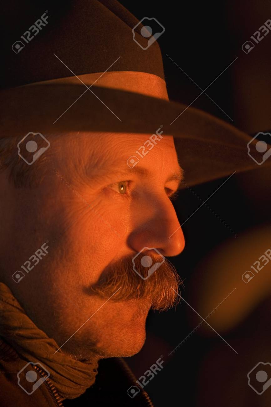 Profile of a cowboy's face Stock Photo - 7551700
