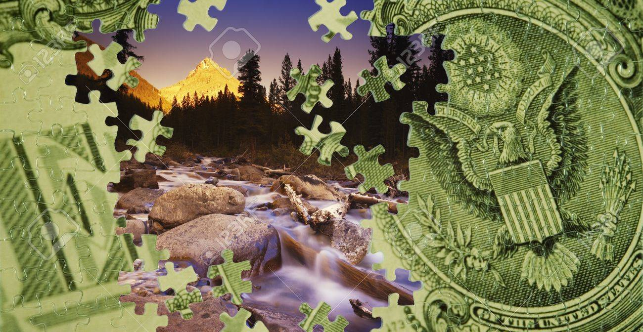 Composite of a US dollar bill and a mountain scene Stock Photo - 7559517
