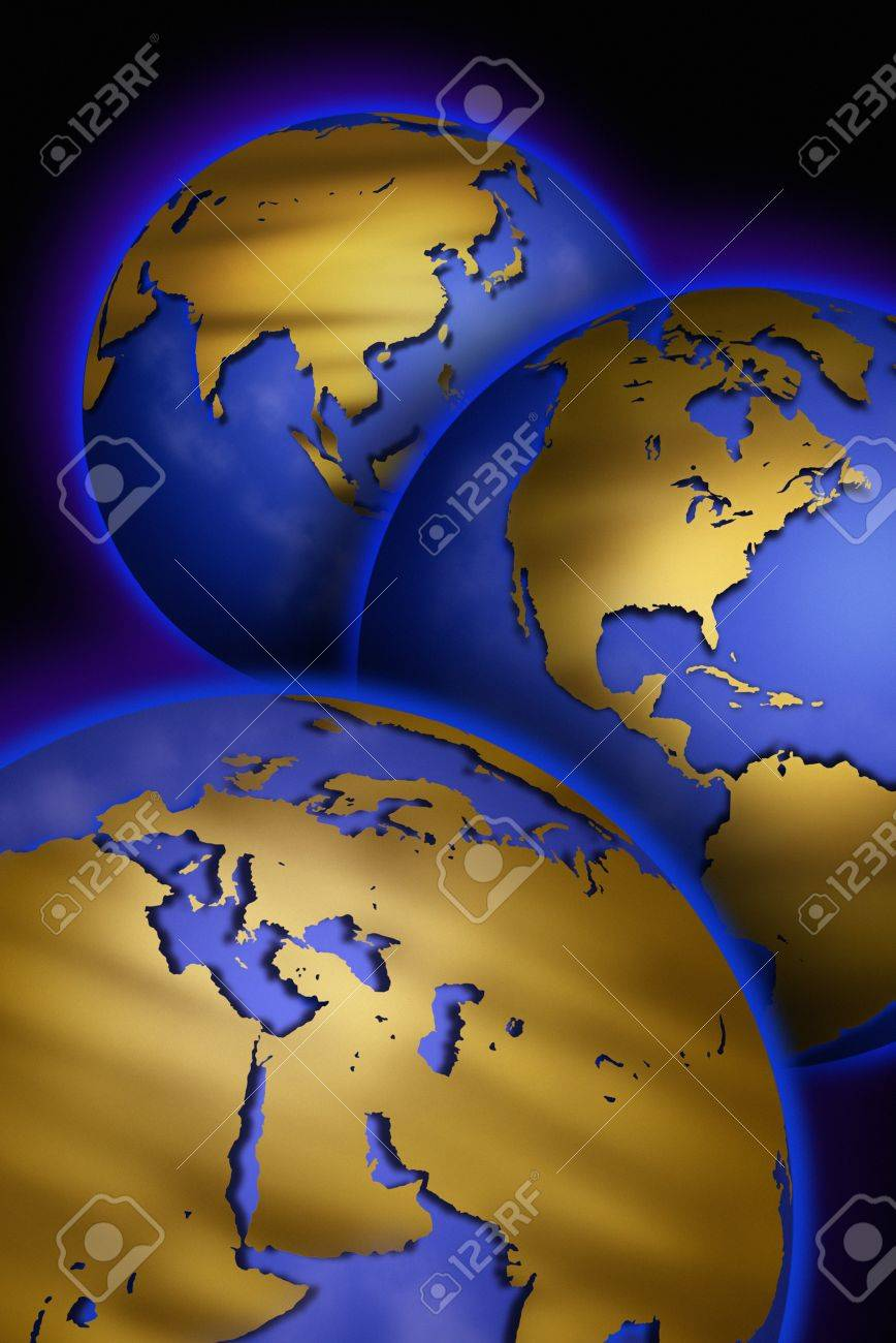 Three Globes With Unmarked Maps Of Different Continents Stock Photo