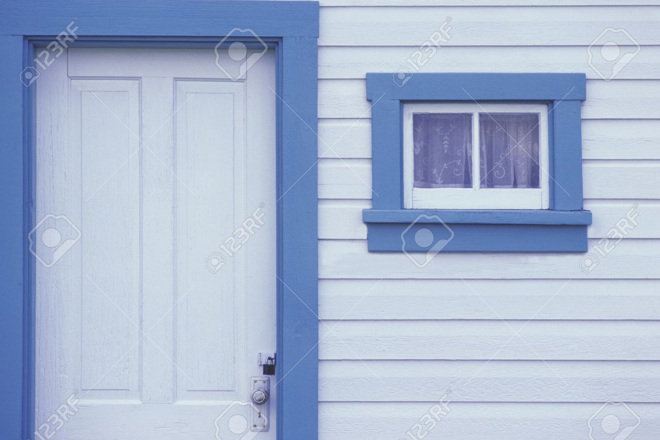 White door and window on white siding with blue trim Stock Photo - 8242129 & White Door And Window On White Siding With Blue Trim Stock Photo ... Pezcame.Com