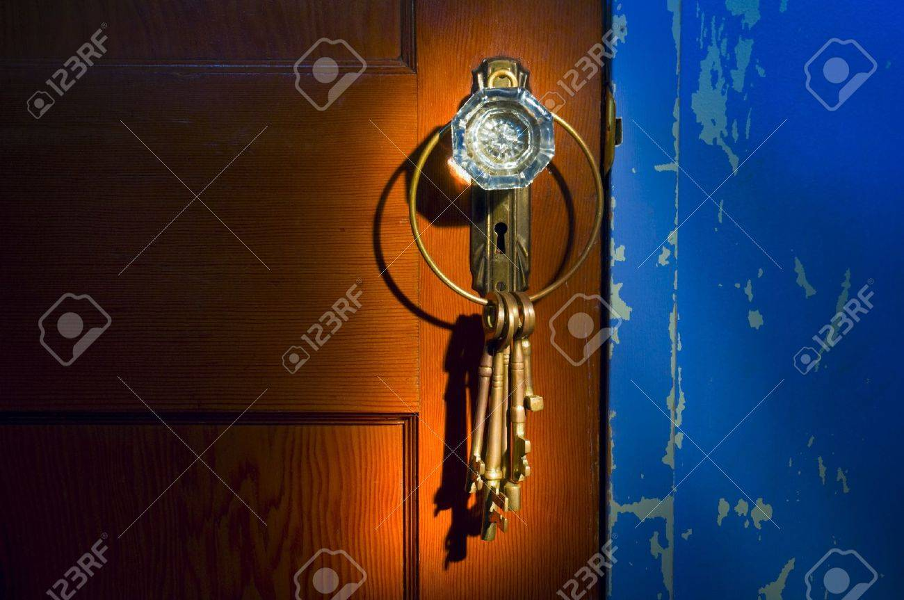 Antique glass doorknob with keys Stock Photo - 8242202