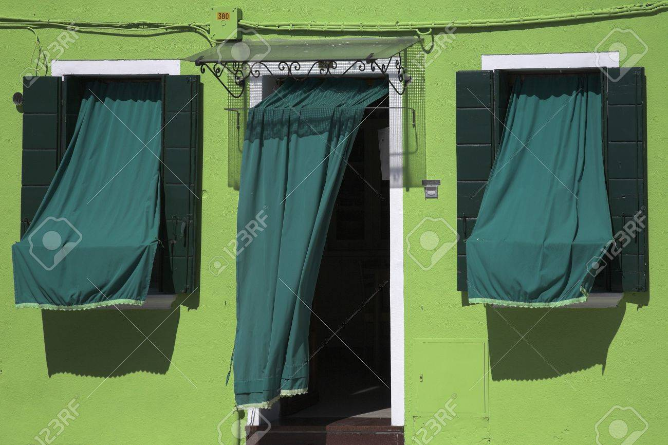 Green house and awnings, Burano, Italy Stock Photo - 8243448