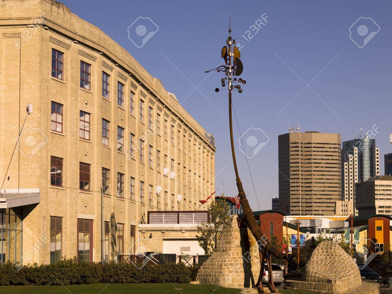 Sculpture and buildings at The Forks,Winnipeg,Manitoba,Canada Stock Photo - 8243925