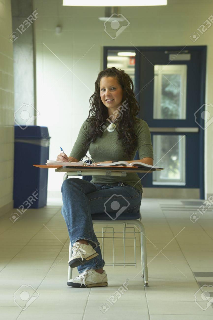 Girl in school desk Stock Photo - 8245434