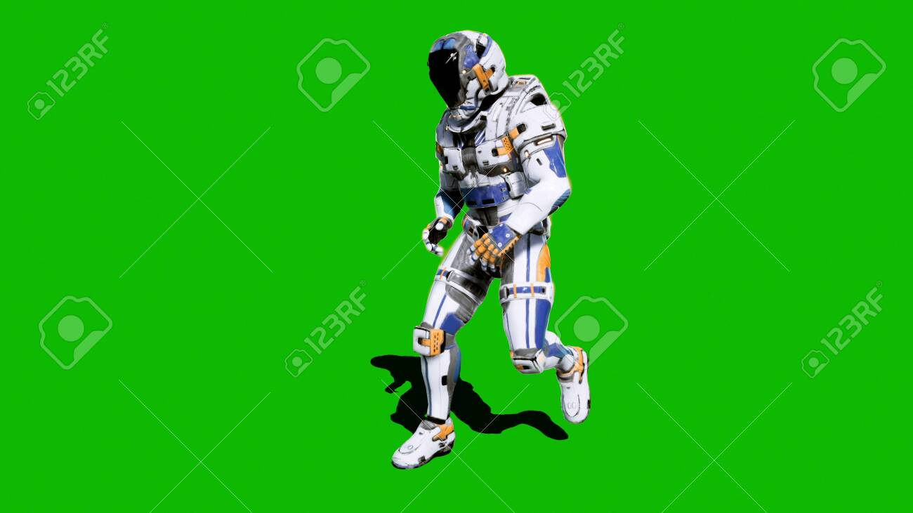Astronaut-soldier of the future, dancing in front of a green screen. 3D Rendering - 120535634