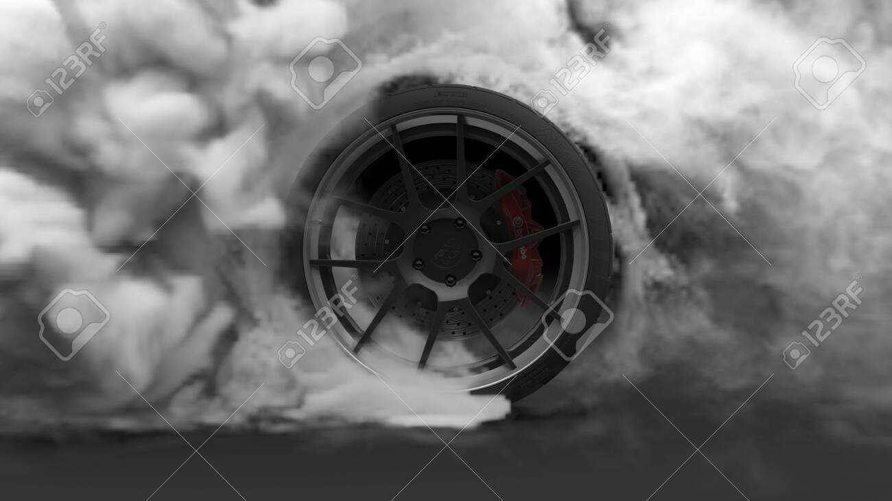 Tire Burnout. Burning rubber and Smoking tire with a rotating wheel with thick Smoke on dark background. 3D Rendering - 122586908