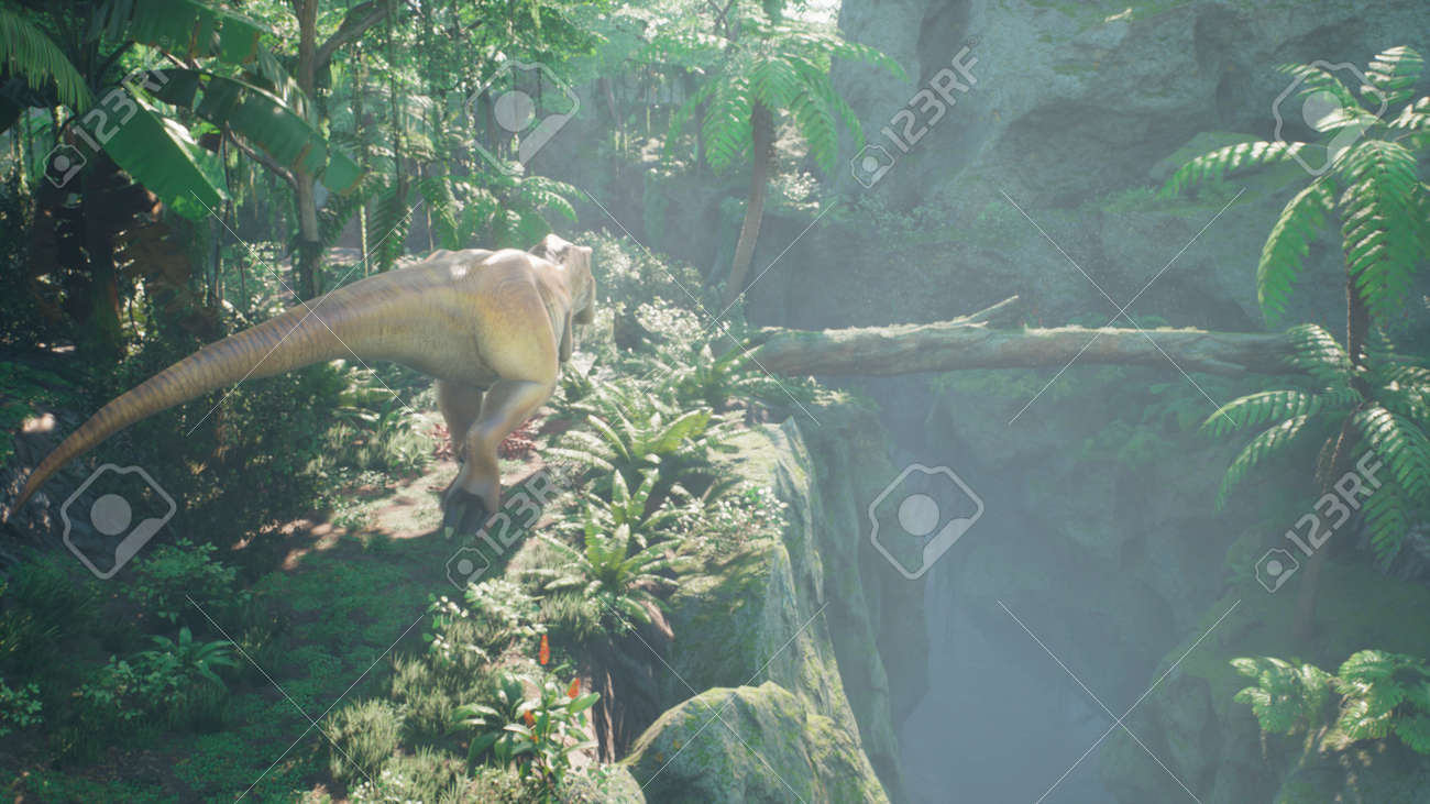 The Tyrannosaurus Rex dinosaur slowly creeps up on its prey in a thicket of green prehistoric jungle. View of the green prehistoric jungle forest on a Sunny morning. 3D Rendering. - 160879958