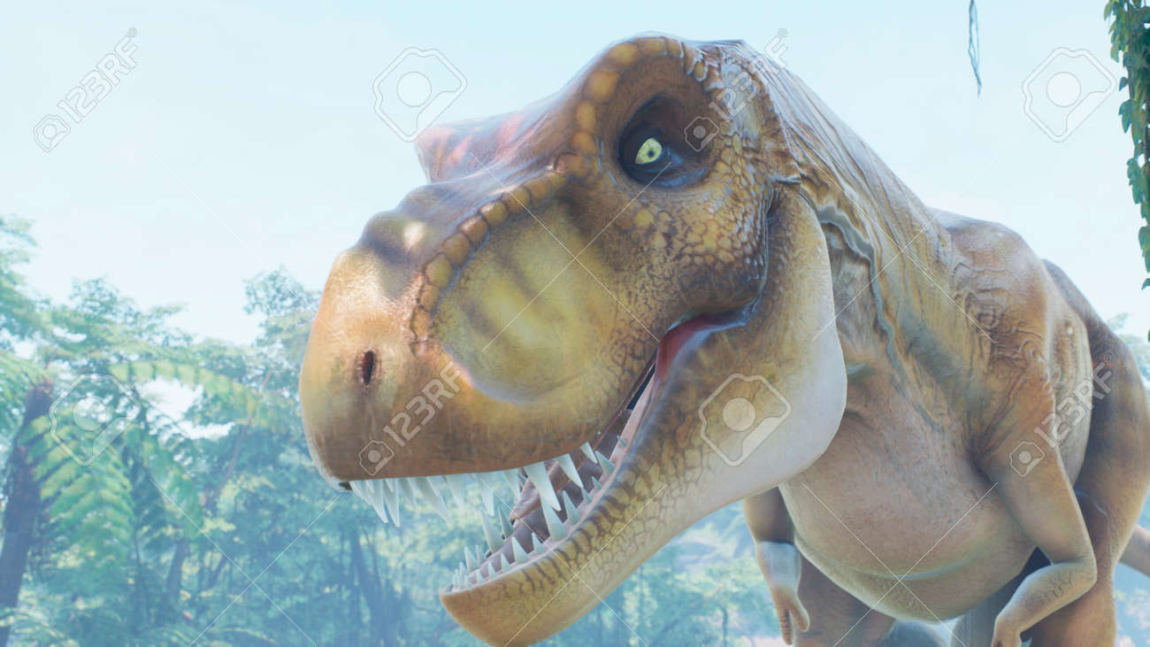 The Tyrannosaurus Rex dinosaur slowly creeps up on its prey in a thicket of green prehistoric jungle. View of the green prehistoric jungle forest on a Sunny morning. 3D Rendering. - 160879964
