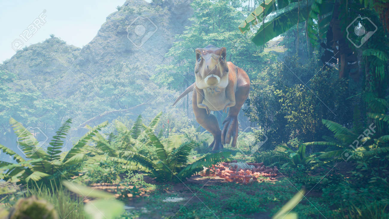 The Tyrannosaurus Rex dinosaur slowly creeps up on its prey in a thicket of green prehistoric jungle. View of the green prehistoric jungle forest on a Sunny morning. 3D Rendering. - 160879990