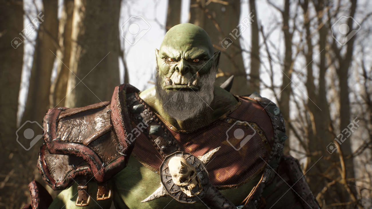 A formidable orc warrior runs through the sunny forest to battle enemies. Fantasy medieval concept. 3D Rendering. - 170564082