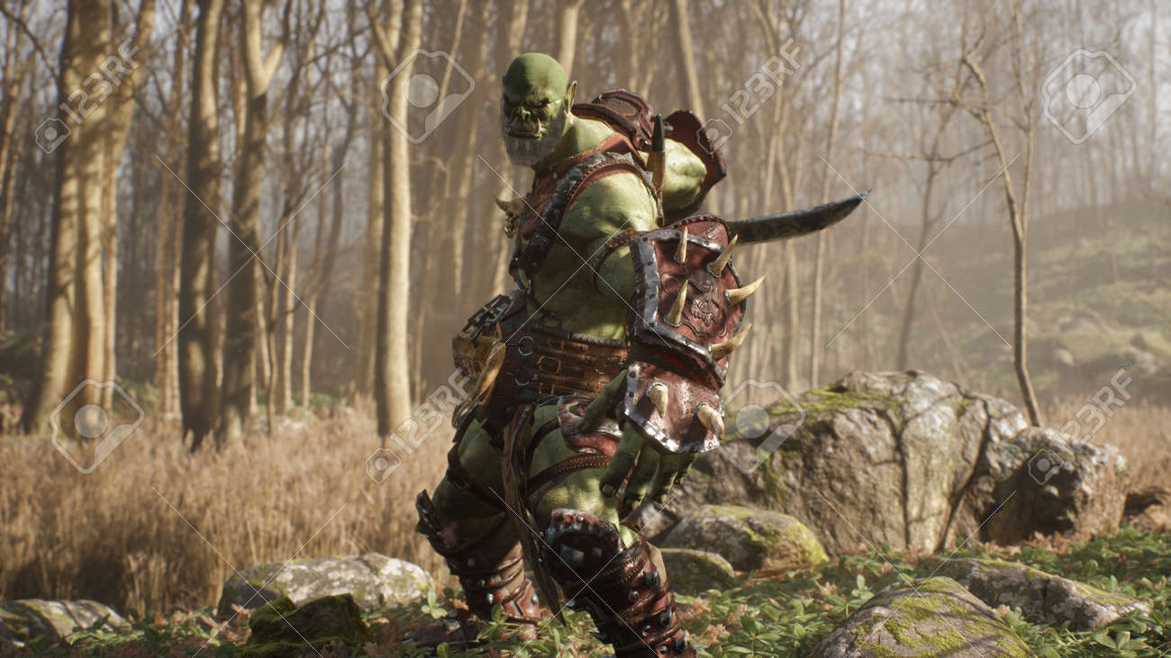 A formidable orc warrior trains before battle and demonstrates combat skills. Fantasy medieval concept. 3D Rendering. - 170564096