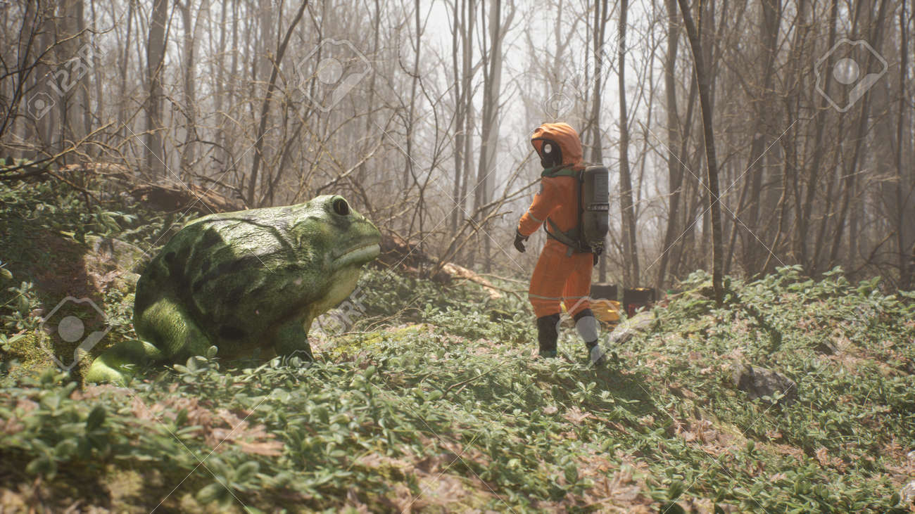 A terrible huge frog grown on pesticides attacks a defenseless biologist studying the forest. Attack of a terrible mutant. 3D Rendering. - 170493933