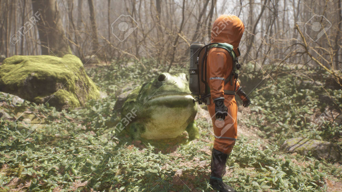 A terrible huge frog grown on pesticides attacks a defenseless biologist studying the forest. Attack of a terrible mutant. 3D Rendering. - 170494329